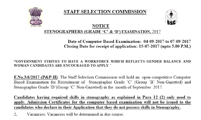 "[Notice] SSC STENO (GRADE ""C"" & ""D"") Exam 2017 Official Notice- SSC Officer"