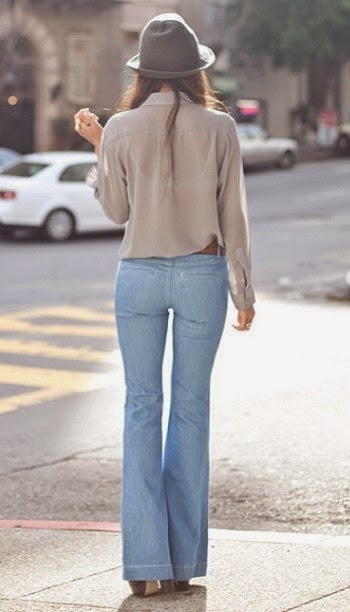 Wearing a Flared Jeans-Light Blue with Blush Shirt and Grey Hat