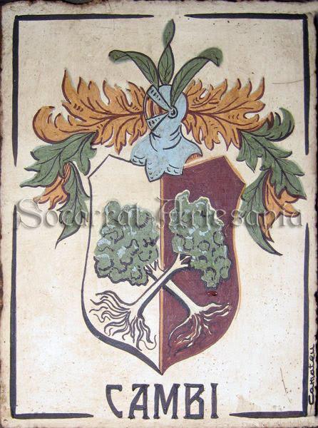 Escudo de ascendencia italiana, pintado con engobes de colores y cocido a 980 grados. Socarrat Artesanía. Soc-Art. Camateu