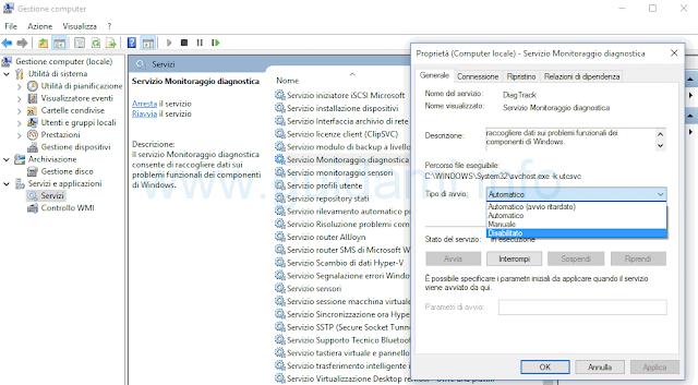 Windows 10 disattivare servizio monitoraggio diagnostica