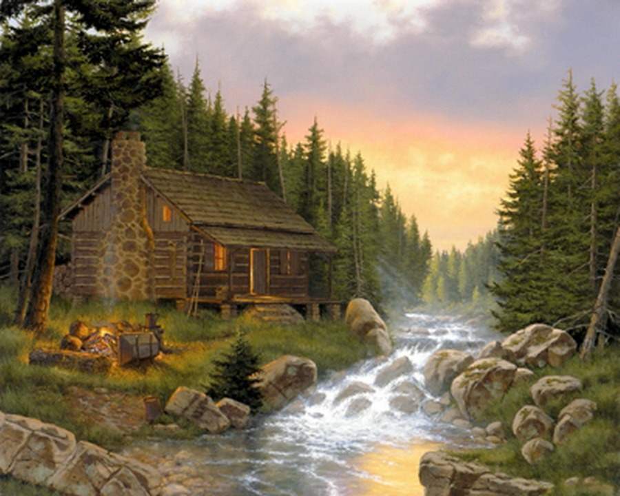Im genes arte pinturas paisajes en atardecer y de dia con - Paisajes de casas ...