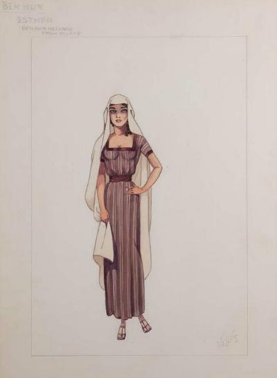 Elizabeth Haffenden Costume Sketch for 1959 Ben-Hur