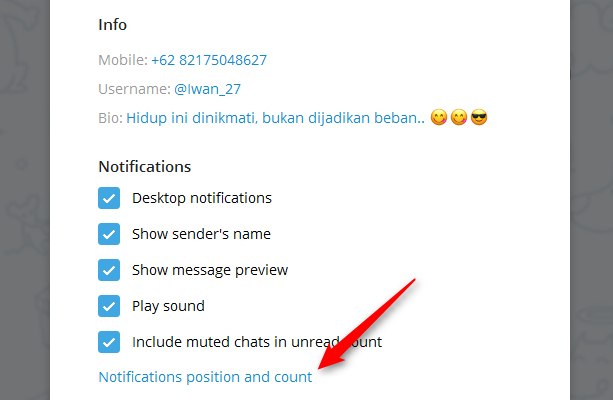 Cara Mengganti Pop Up Notifikasi Pada Telegram Versi Desktop