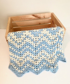 Baby Love Collection of baby blanket crochet patterns by Little Monkeys Design - Dreamy Waves chevron crochet baby blanket pattern