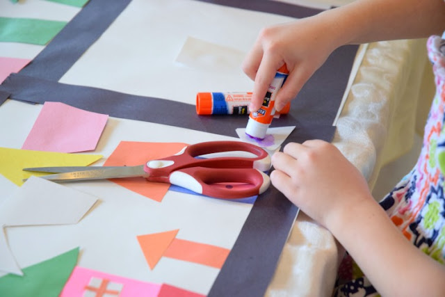 Invitation To Create: City Planner. Open ended creative construction or building paper craft for kids. Great for fine motor development. Perfect for preschoolers, kindergartners, and elementary students, and allows exploration of shapes and colors.