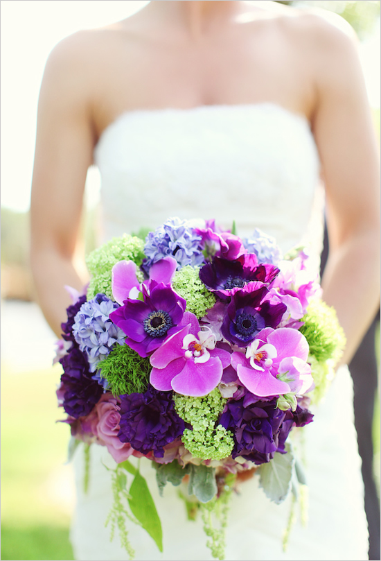 Green Wedding And Purple White Bouquet