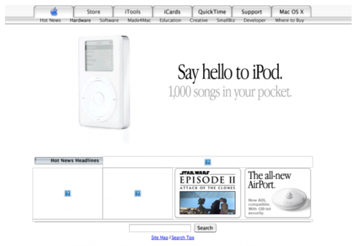 screenshot sito apple 2001