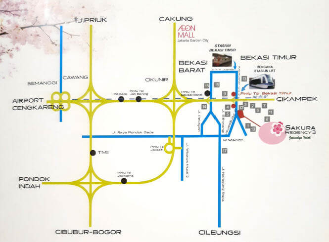 Peta Lokasi Sakura Regency 3 Bekasi