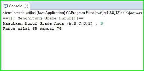 Program Java - Menentukan Nilai Grade Menggunakan Switch - Case