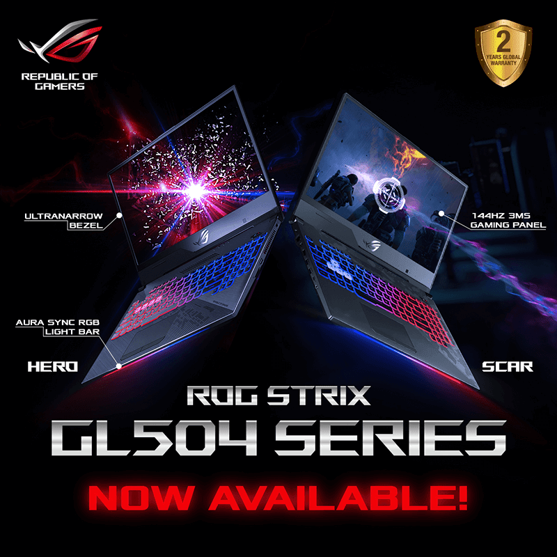 ASUS ROG GL504 gaming laptops