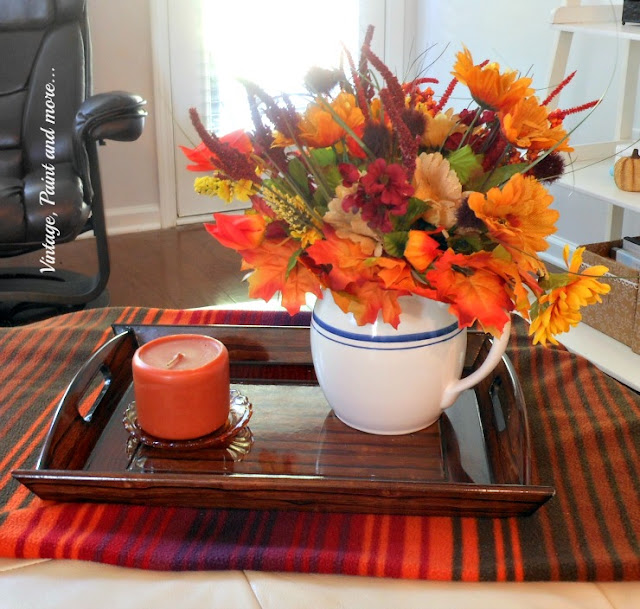 Vintage, Paint and more... Simple fall vignette for coffee table with faux flowers and a vintage pitcher
