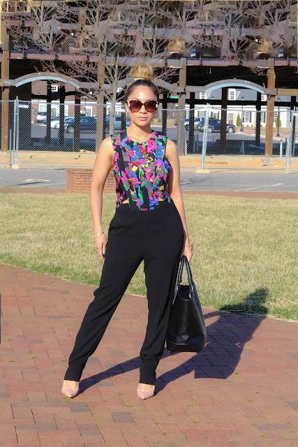 Black and Floral cutout Jumpsuit