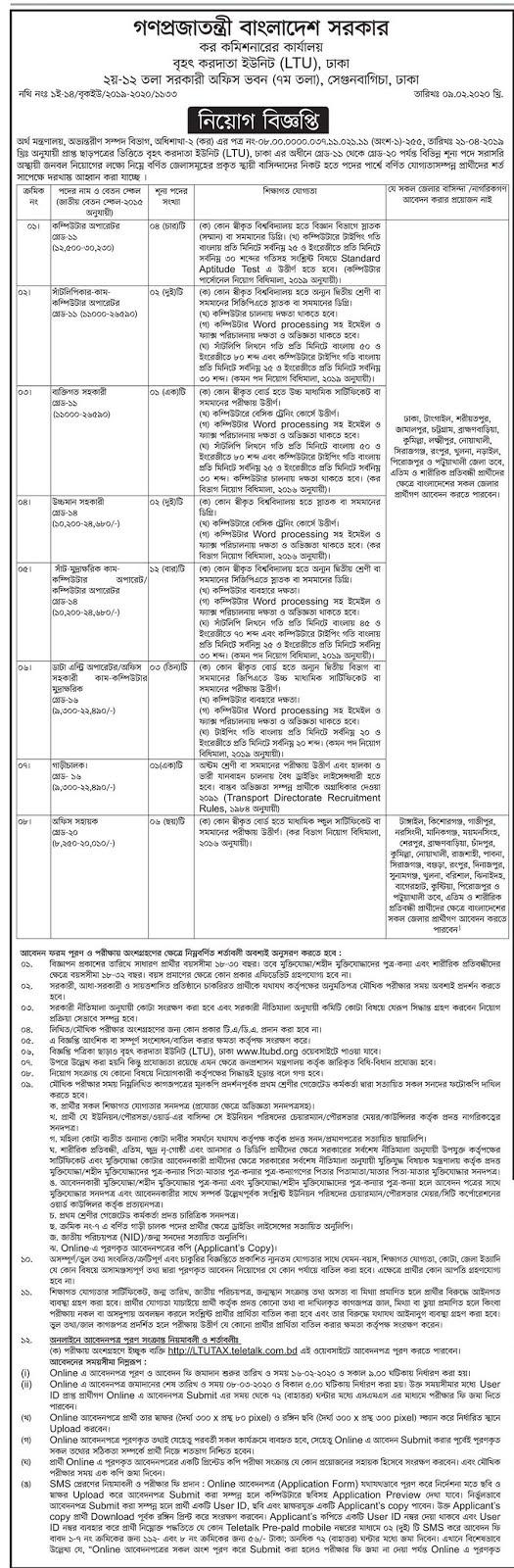 কর কমিশনারের কার্যালয়ে নিয়োগ বিজ্ঞপ্তি – Taxes Zone Job Circular 2020  Tax commissioner office job circular 2020