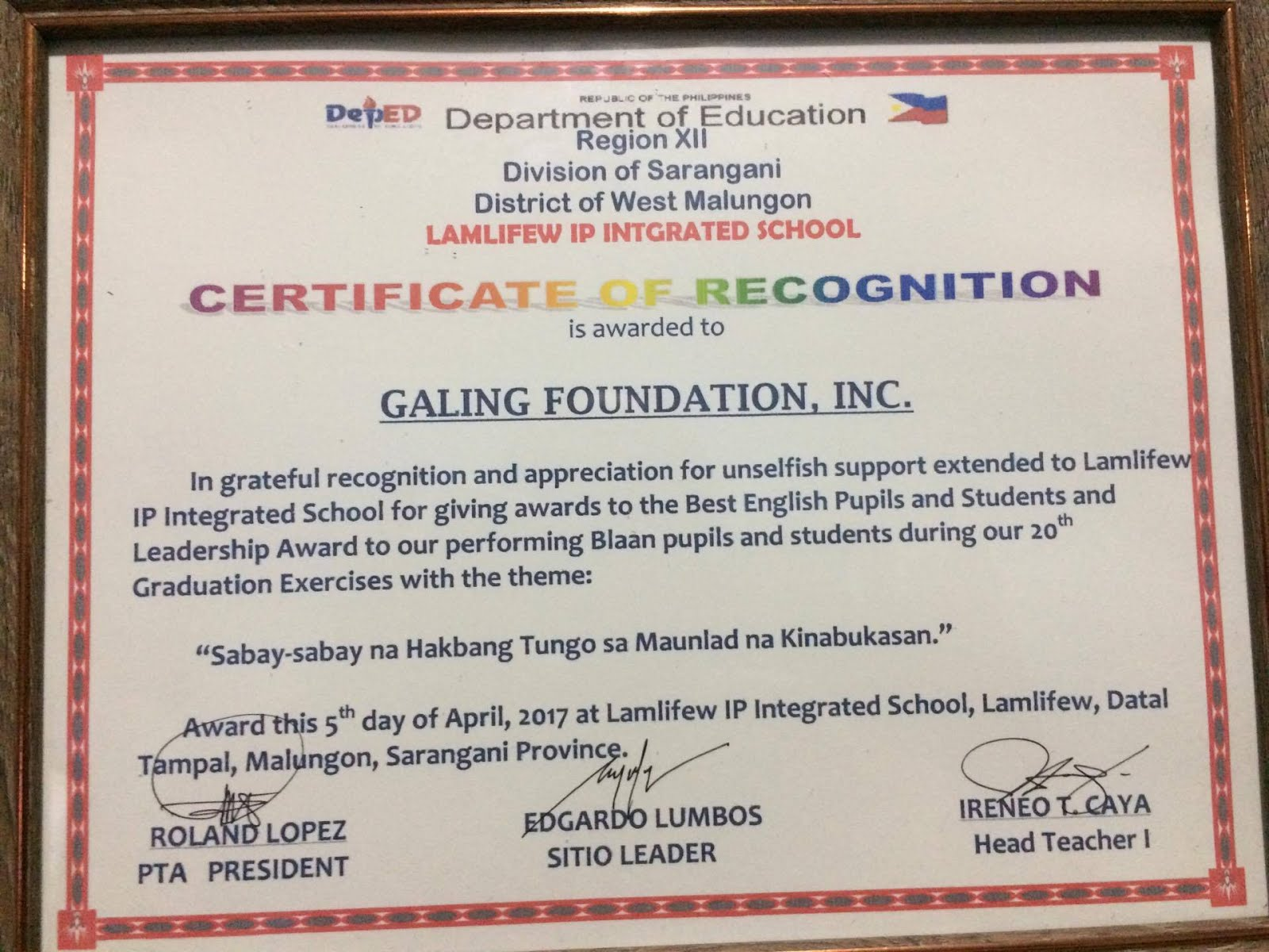 galing foundation  inc  mindanao outreach  certificate of recognition for gfi from lnhs