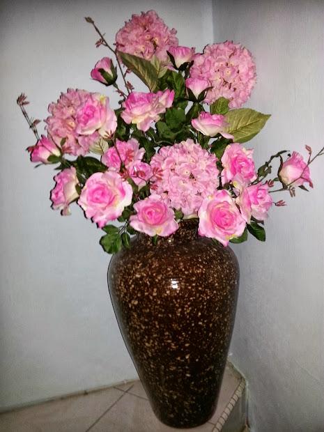 Gubahan Bunga Pasu Tinggi Diy Hydrangea Dan Rose