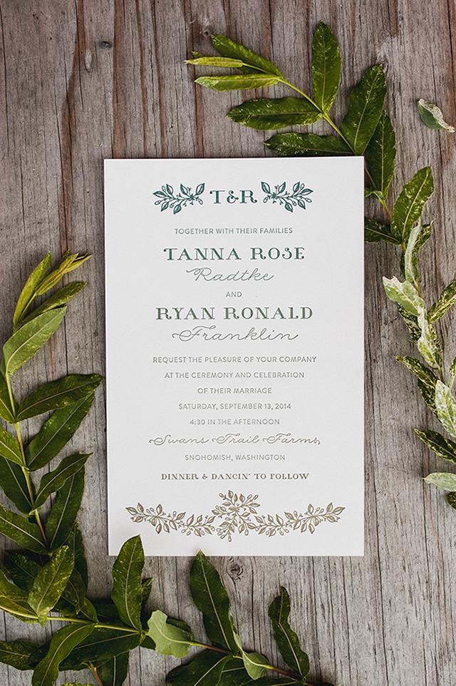 Split fountain letterpress wedding invitation - Tanna and Ryan