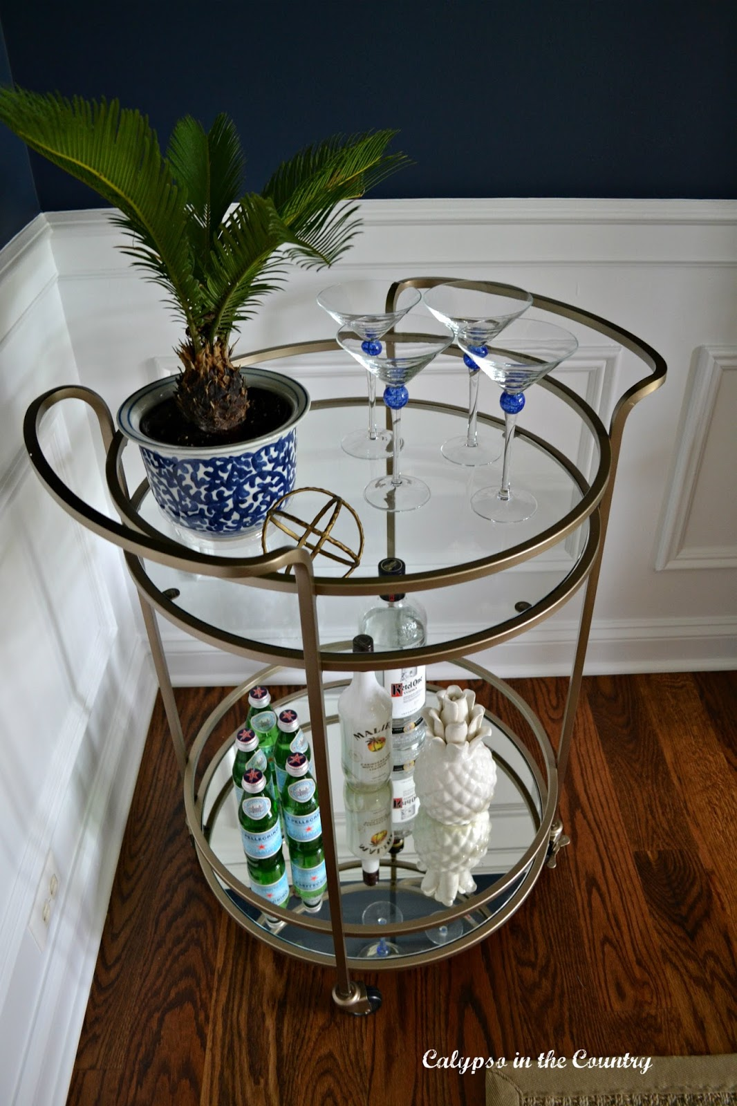 Gold Bar Cart in Navy Dining Room