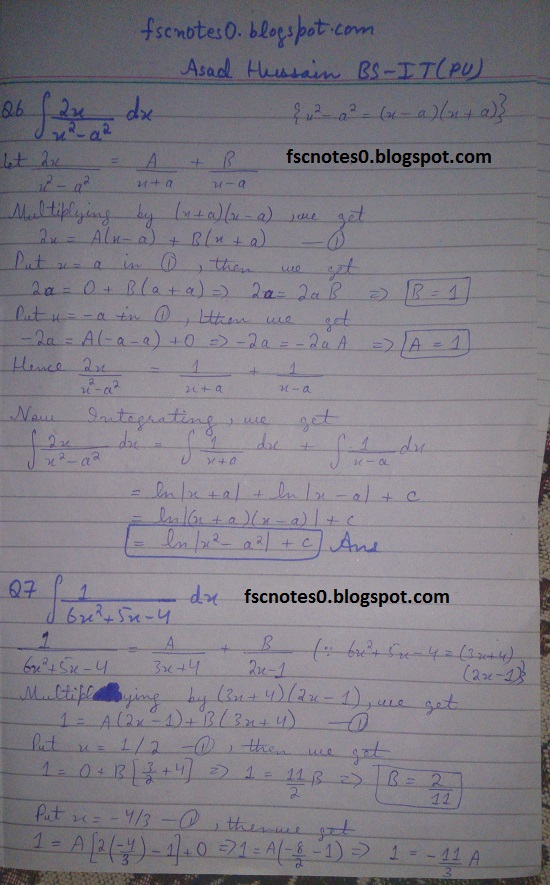 FSc ICS Notes Math Part 2 Chapter 3 Integration Exercise 3.5 question 1 - 11 by Asad Hussain 4