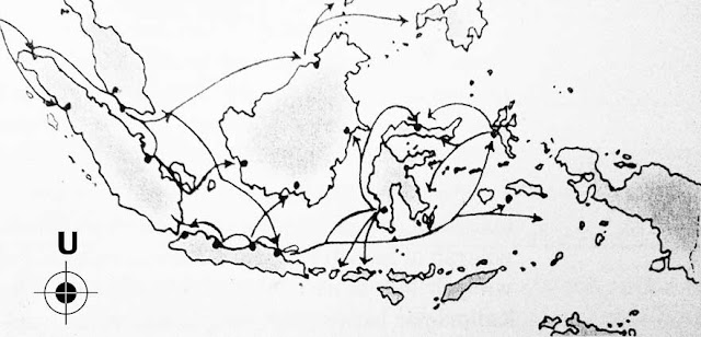 Map of the routes of Islam spreading in Indonesia