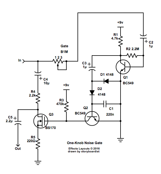 Perf and PCB Effects Layouts: One-Knob Noise Gate