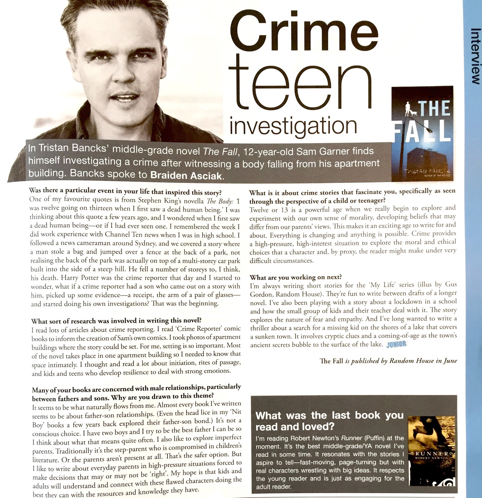 The Fall Interview in Books+Publishing Magazine