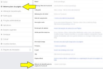 configurações do Facebook