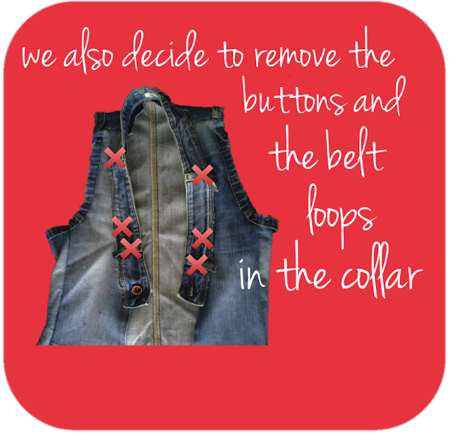 we also decide to remove the buttons and the belt loops in the collar