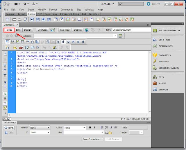 Membuat Coding PHP di Dreamweaver