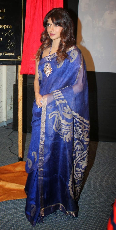 Priyanka Chopra Latest Photos In Blue Saree - Hot Blog Photos-7838
