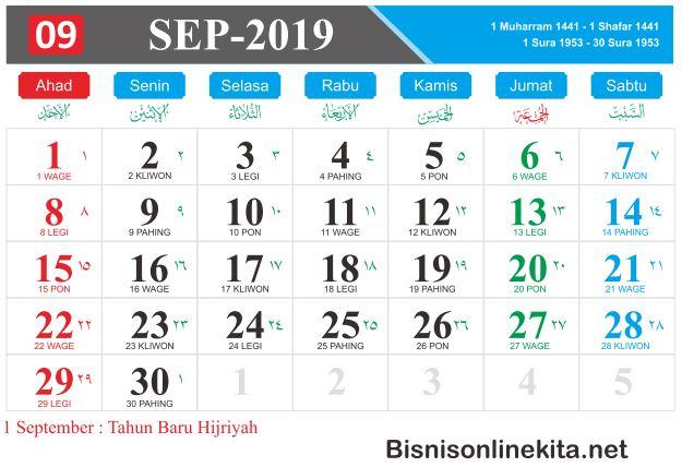 kalender 2019 september