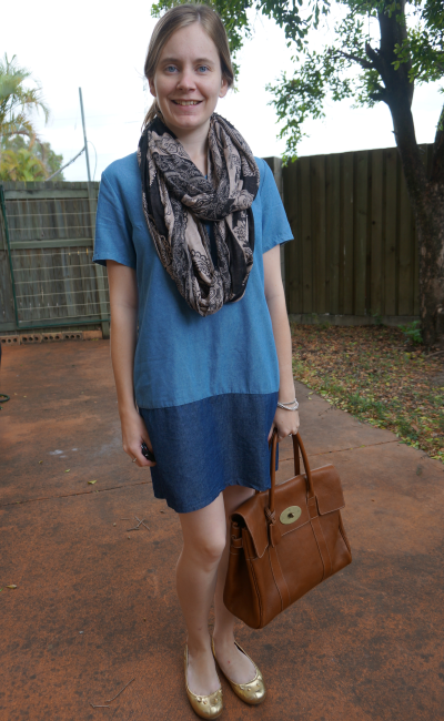 Paisley print Snood Chambray Shift Dress Mulberry Bayswater Outfit