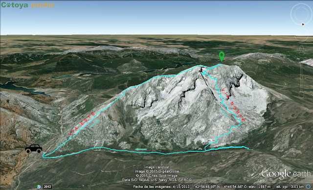 Mapa de la ruta señalizada al Pico Espigüete subiendo por la Este y bajando por la Norte.