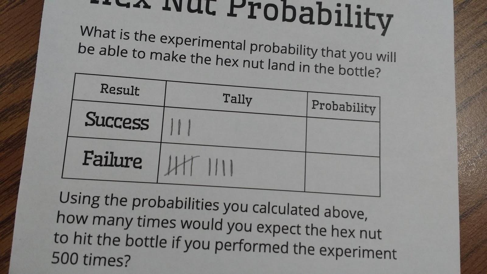 Math Love Hex Nut Probability Activity