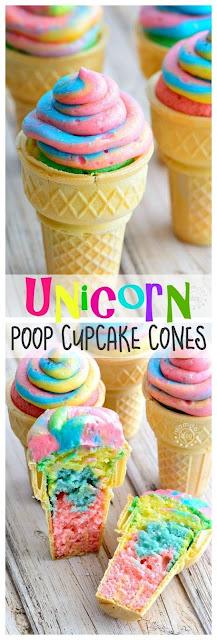 Unicorn Poop Cupcake Cones
