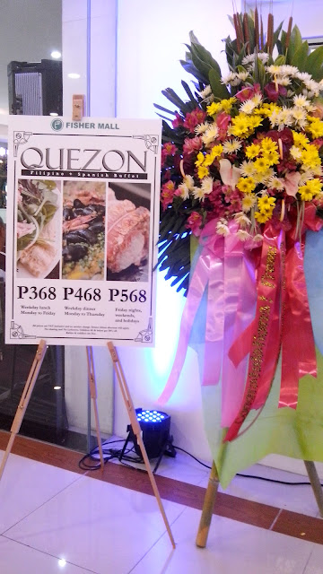 Rates of Quezon Filipino Spanish Buffet Restaurant. The place can accommodate 200 pax and function rooms for 30-35 persons are also available.