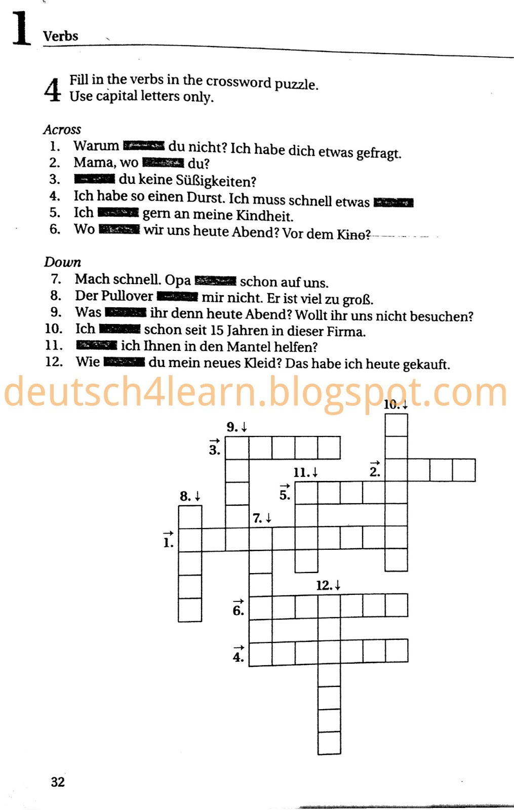Exercises for German Tenses