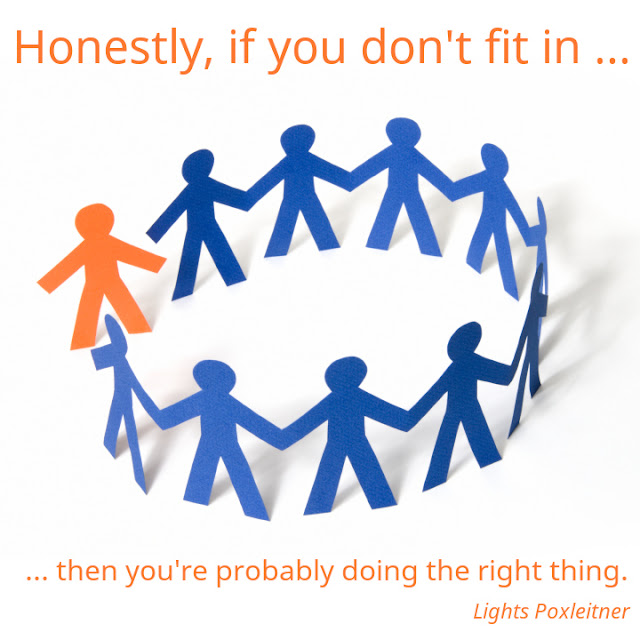 Lights Poxleitner: Honestly, if you don't fit in, then you're probably doing the right thing.