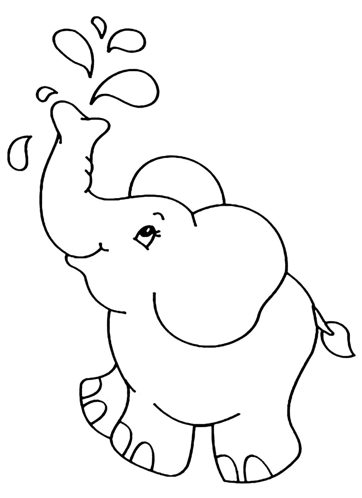 Tranh tô màu chú voi đang phun nước