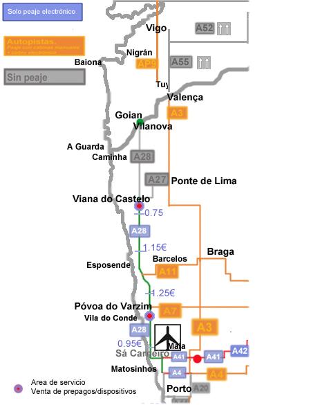 mapa porto vigo Nuevos peajes en Portugal (ex SCUTs) Mapas, comparativas y pago  mapa porto vigo