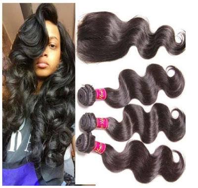 Lace Closure + Brazilian Virgin Body Wave Hair by Unice