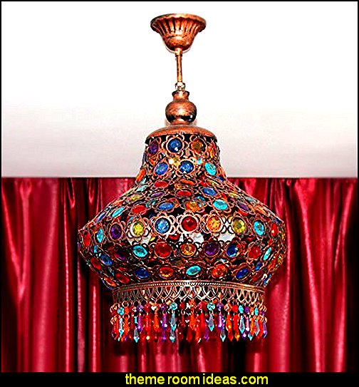 Colorful Crystal Lamp Pendant Chandelier Ceiling Lighting   I Dream of Jeannie theme bedrooms - Moroccan style decorating - Jeannie bedroom harem style - Arabian Nights theme bedrooms - bed canopy - Moroccan stencils - I dream of Jeannie bottle - satin bedding - throw pillows - Moroccan furniture