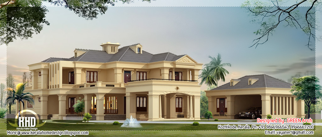 Luxury villa in 4200 square feet kerala home design and for Two floor house plans in kerala