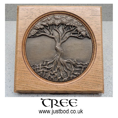 Tree of Life wall plaque in bronze & oak