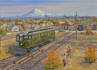 PSER 523 is depicted in this J. Craig Thorpe oil painting as it departs Auburn for Kent.