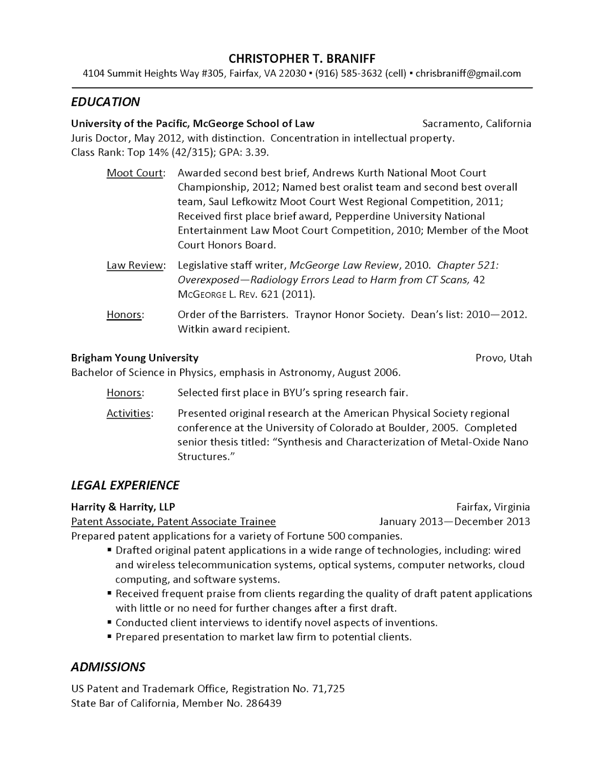 where to put patent pending on resume