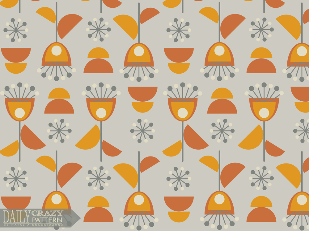 "Autumn art print with geometric flowers for ""Daily Crazy Pattern"" project"