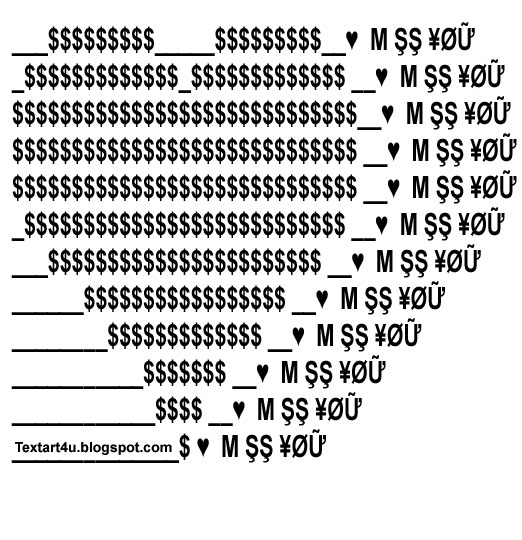 i miss you copy paste ascii heart