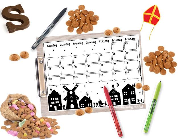 Sinterklaas aftelkalender, schoen zet kalender, kalender sinterklaas, kalender schoenzetten, gratis kalender sinterklaas, gratis sinterklaas printable, kalender voor sinterklaas