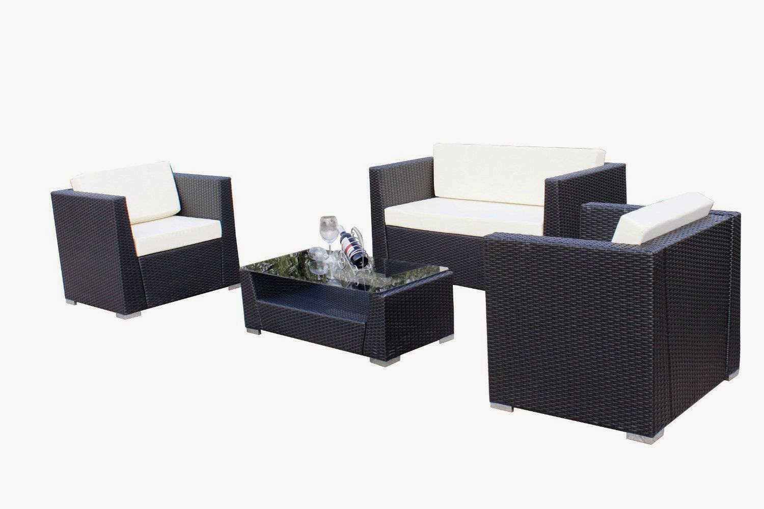 Luxury Wicker Patio Sectional Indoor Outdoor Sofa Furniture Set W/ White and Grey Cushion Covers