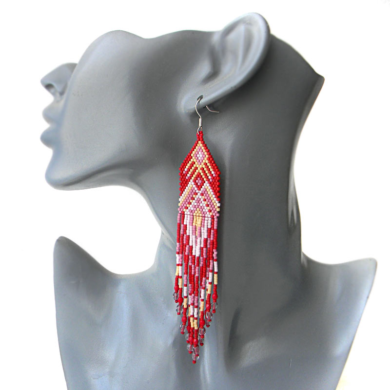 long red seed bead earrings beadwork jewelry bohemian earrings